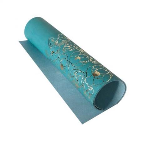 Отрез кожзама с тиснением  золотой фольгой Golden Pion Turquoise, размер 500мм х 250мм.