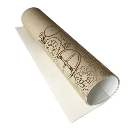 Отрез кожзама с тиснением  золотой фольгой Golden Gears Beige, размер 500мм х 250мм.