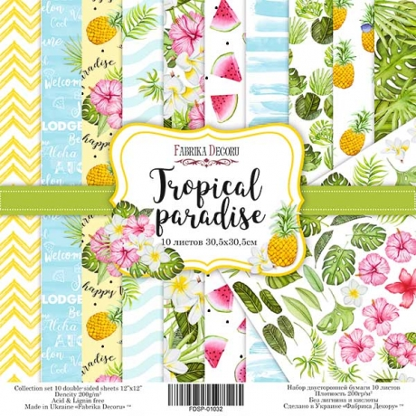 "Double-sided scrapbooking paper set ""Tropical paradise"", 12""x 12"" , Fabrika Decoru"