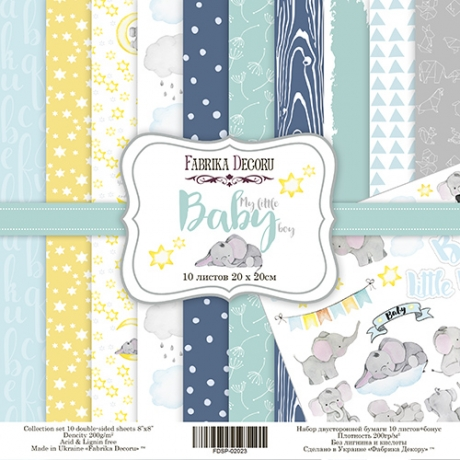 "Double-sided scrapbooking paper set ""My little baby boy"", 8""x 8"" , Fabrika Decoru"