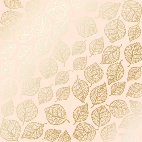 """Ühepoolne disainpaberi leht sissepressitud kuldse fooliumiga """"Golden Delicate Leaves Beige"""""""