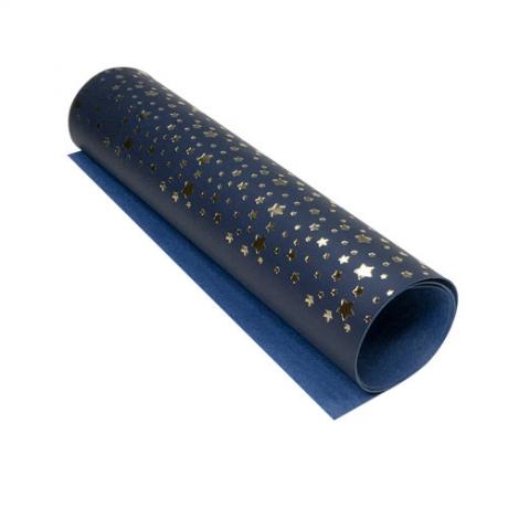 Отрез кожзама с тиснением  золотой фольгой Golden Stars Dark blue, размер 500мм х 250мм.