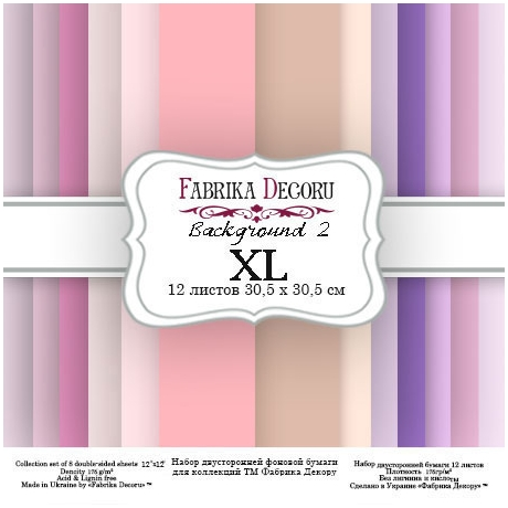 "Double-sided scrapbooking paper set ""Backgrounds 2 XL"",  12""x 12"" , Fabrika Deсoru"