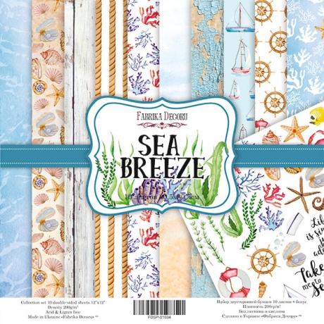 """Double-sided scrapbooking paper set """"Sea Breeze"""", 12""""x 12"""" , Fabrika Decoru"""