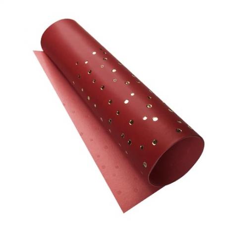Отрез кожзама с тиснением  золотой фольгой Golden Drops Red, размер 500мм х 250мм.