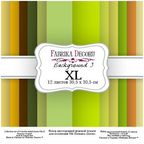 "Double-sided scrapbooking paper set ""Backgrounds 3 XL"", 12""x 12"" , Fabrika Deсoru"