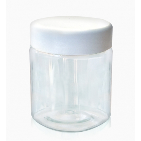 Баночка 150мл прозрачная, с пластиковой крышкой белого цвета