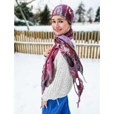 Ажурный шарф и шапка «Зимняя вишня» ПРОДАНЫ