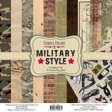 "Double-sided scrapbooking paper set ""Military Style"", 8""x8"""