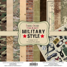"Double-sided scrapbooking paper set ""Military Style"", 12""x12"""