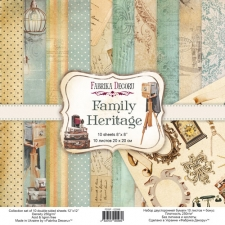 "Double-sided scrapbooking paper set ""Family Heritage"", 8""x8"""