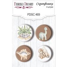 "Flair buttons. Set of 4pcs #469 ""Dinosauria"""
