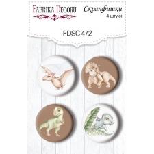 "Flair buttons. Set of 4pcs #472 ""Dinosauria"""