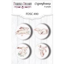 """Flair buttons. Set of 4pcs #490 """"Sweet Bunny"""""""