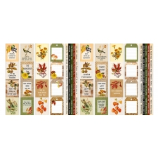 """Set of stripes with pictures for decoration """"Autumn Botanical Diary"""""""