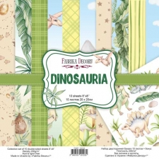 """Double-sided scrapbooking paper set """"Dinosauria"""", 8""""x8"""""""