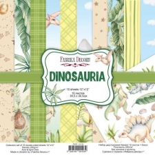 """Double-sided scrapbooking paper set """"Dinosauria"""", 12""""x12"""""""