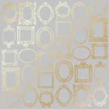 "Sheet of single-sided paper embossed by golden foil ""Golden Frames Gray"""