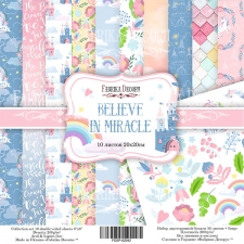 "Double-sided scrapbooking paper set  ""Believe in miracle"", 8""x 8"" , Fabrika Decoru"