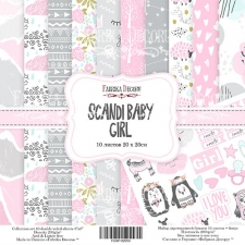"Double-sided scrapbooking paper set ""Scandi Baby Girl"", 8""x 8"" , Fabrika Decoru"