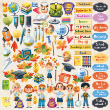 "Decorative sheet for cutting ""Back to School ENG"""