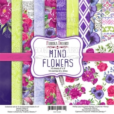 "Double-sided scrapbooking paper set ""Mind Flowers"", 8""x8"""