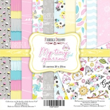 "Double-sided scrapbooking paper set ""My tiny sparrow girl"", 8""x 8"" , Fabrika Decoru"