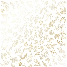 """Embossed paper sheet """"Golden Branches White"""""""