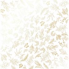 "Disainpaberi leht kuldse mustriga ""Golden Branches White"""