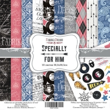 "Double-sided scrapbooking paper set ""Specially for him"", 8""x8"", Fabrika Decoru"