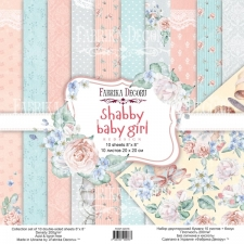 "Double-sided scrapbooking paper set ""Shabby Baby Girl"", 8""x8"""