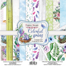 "Double-sided scrapbooking paper set ""Colorful Spring"", 8""x 8"", Fabrika Decoru"