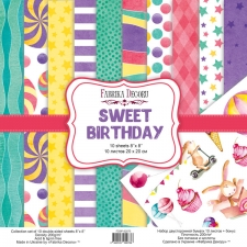 "Double-sided scrapbooking paper set ""Sweet Birthday"", 8""x 8"", Fabrika Decoru"