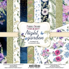 "Double-sided scrapbooking paper set ""Night Garden"", 8""x 8"", Fabrika Decoru"