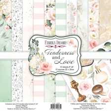 "Double-sided scrapbooking paper set ""Tenderness and Love"", 8""x 8"", Fabrika Decoru"