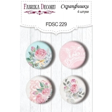 "Flair buttons. Set of 4pcs #229 ""Shabby Garden"""