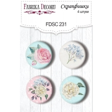 "Flair buttons. Set of 4pcs #231 ""Shabby Garden"""