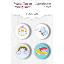 "Flair buttons. Set of 4pcs #226 ""My Tiny Sparrow Girl"""