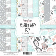 "Double-sided scrapbooking paper set ""Scandi Baby Boy"", 8""x 8"" , Fabrika Decoru"