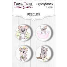 "Flair buttons. Set of 4pcs #279 ""Puffy Fluffy Girl"""