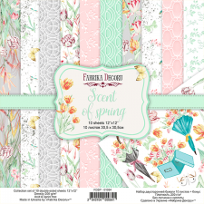 "Double-sided scrapbooking paper set ""Scent of spring"", 12""x12"", Fabrika Decoru"