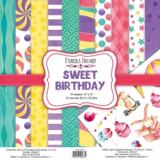 "Double-sided scrapbooking paper set ""Sweet Birthday"", 12""x 12"", Fabrika Decoru"
