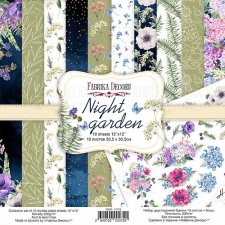 "Double-sided scrapbooking paper set ""Night Garden"", 12""x 12"", Fabrika Decoru"