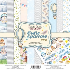 "Double-sided scrapbooking paper set ""Cutie Sparrow Boy"", 12""x12"""
