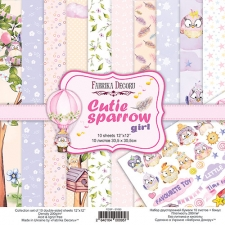 "Double-sided scrapbooking paper set ""Cutie Sparrow Girl"", 12""x12"""