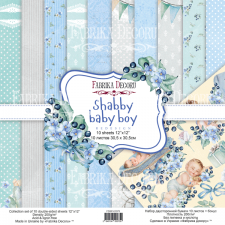 "Double-sided scrapbooking paper set ""Shabby Baby Boy"", 8""x 8"", Fabrika Decoru"