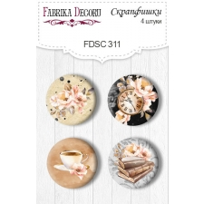 "Flair buttons.  Set of 4pcs #311 ""Sentimental Story"""