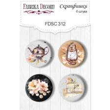 "Flair buttons.  Set of 4pcs #312 ""Sentimental Story"""