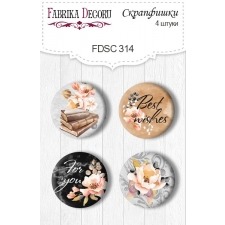 "Flair buttons.  Set of 4pcs #314 ""Sentimental Story"""