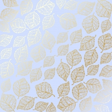 "Sheet of single-sided paper embossed by golden foil ""Golden Delicate Leaves Purple"""
